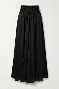 Marika Vera - Brook Gathered Satin Wide-leg Pants - Black