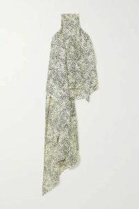 Petar Petrov - Cameron Asymmetric Printed Silk-twill Halterneck Top - Black