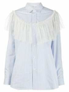 RedValentino lace detail striped shirt - White