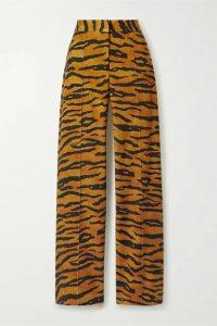Adam Lippes - Tiger-print Stretch-jersey Wide-leg Pants - Tan