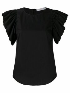 See By Chloé ruffled sleeves T-shirt - Black