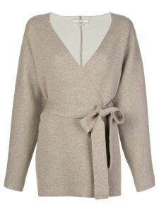 Co wrap front tie waist cardigan - NEUTRALS