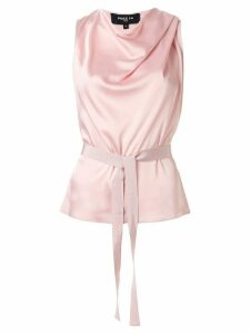 Paule Ka draped neck belted top - PINK
