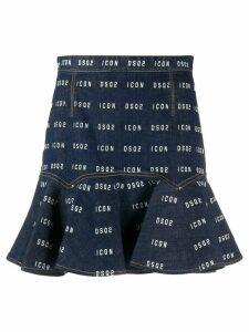 Dsquared2 logo ruffled skirt - Blue