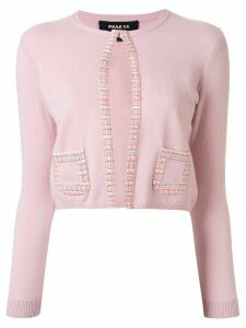 Paule Ka tweed trim cardigan - PINK