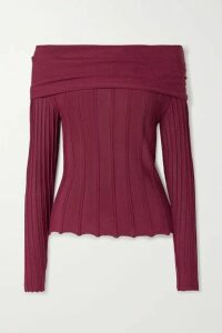 Agnona - Off-the-shoulder Ribbed-knit Top - Claret