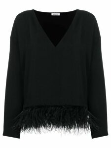 P.A.R.O.S.H. feather-embellished loose-fit blouse - Black