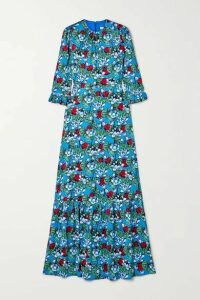 Mary Katrantzou - Millais Floral-print Hammered Stretch-silk Satin Maxi Dress - Turquoise