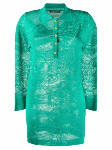 Alberta Ferretti long sleeve lace knit polo shirt - Green