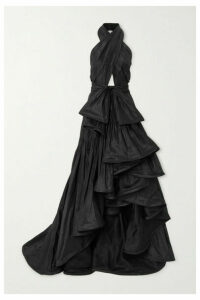 Oscar de la Renta - Asymmetric Cutout Silk-taffeta Halterneck Gown - Black