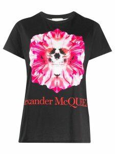Alexander McQueen skull and flower print T-shirt - Black