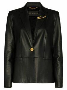 Versace safety pin-embellished leather blazer - Black