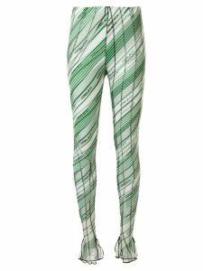Y/Project diagonal stripes leggings - Green