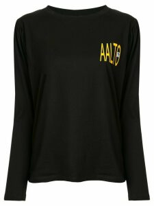 Aalto pleated logo T-shirt - Black