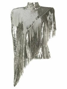 Balmain asymmetric sequinned top - SILVER