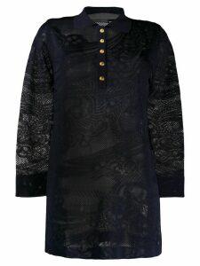 Alberta Ferretti oversized knitted henley shirt - Blue