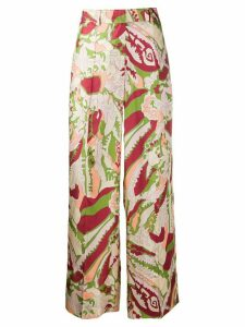 Victoria Beckham abstract print palazzo trousers - NEUTRALS