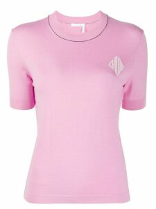 Chloé logo crew neck knitted top - PINK