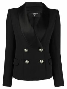 Balmain embossed buttons double-breasted blazer - Black