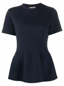 Marni diagonal stitch peplum top - Blue