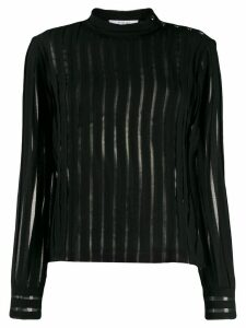 Derek Lam 10 Crosby Raw Cut Chiffon Pieced Blouse with Snaps - Black
