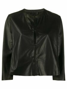 Drome collarless cropped jacket - Black