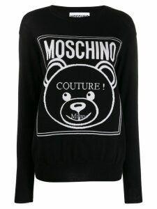 Moschino Teddy couture logo intarsia jumper - Black