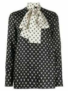 Valentino two-tone VLOGO pussybow blouse - Black