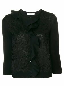 Valentino ruffle lace cardigan - Black