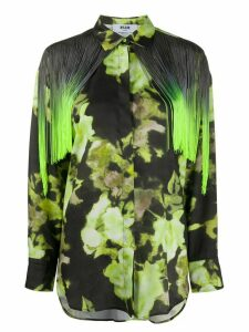 MSGM abstract print fringe shirt - Green