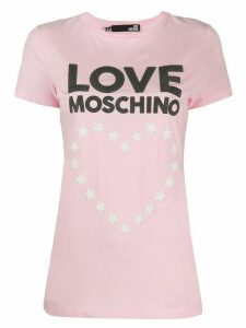 Love Moschino heart logo print T-shirt - PINK