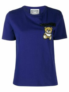 Moschino beaded teddy bear patch T-shirt - Blue