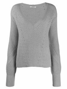 Derek Lam 10 Crosby Ribbed Twilight Wool Cashmere V-Neck Bell Sleeve