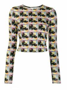 Alice+Olivia Delaina printed top - Black