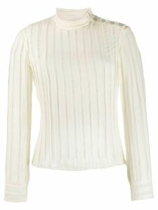 Derek Lam 10 Crosby Raw Cut Chiffon Pieced Blouse with Snaps -