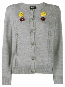A.P.C. embroidered cardigan - Grey