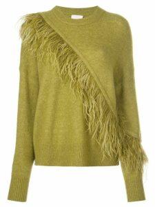 Cinq A Sept Merritt feather-trimmed jumper - Green