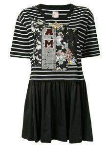 Antonio Marras striped pleated T-shirt - Black