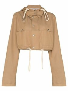 Plan C hooded crop shirt-jacket - NEUTRALS