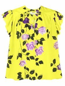 MSGM rose print ruffle T-shirt - Yellow