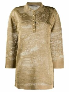 Alberta Ferretti long sleeve lace knit polo shirt - NEUTRALS