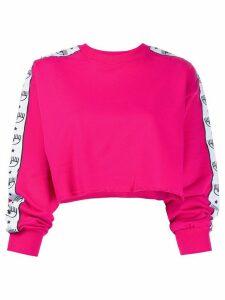 Chiara Ferragni eyelash trim cropped jumper - PINK