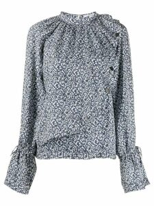 Derek Lam 10 Crosby Long Sleeve Asymmetric Mini Paisley Draped Blouse