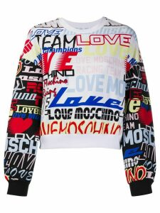 Love Moschino graphic-print cotton sweatshirt - White
