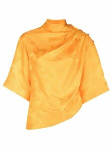 Rosie Assoulin floral jacquard draped top - Yellow