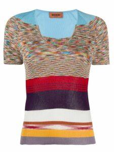 Missoni V-neck block color knitted top - Blue