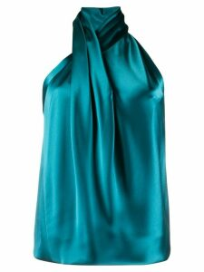 Galvan draped neck blouse - Blue
