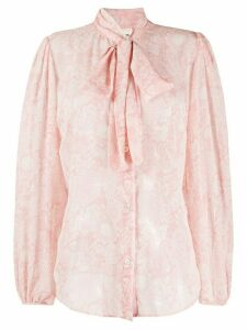 Semicouture pussy-bow embroidered shirt - PINK