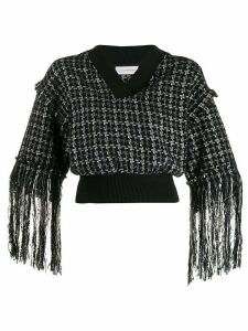 Faith Connexion cropped fringed sweater - Black
