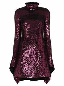 Halpern draped sequinned mini dress - PINK